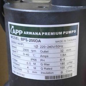 THÔNG SỐ KỶ THUẬT BƠM NƯỚC BPS-200DA