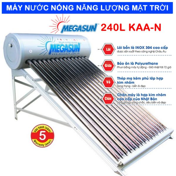 Máy nước nóng năng lượng mặt trời Megasun 240l KAA-N