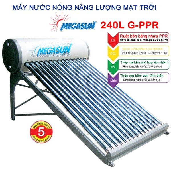 máy nước nóng năng lượng mặt trời Megasun 240l G-PPR