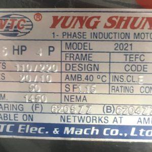 THÔNG SỐ KỶ THUẬT MOTOR VTC 1, 5HP