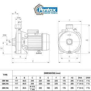 đường đặc tính máy bơm pentax 1.5 ngựa 3 pha