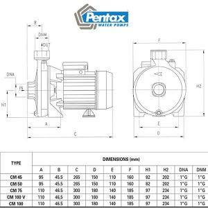 kích thước máy bơm pentax CMT 100
